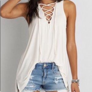 American Eagle Cream lace up flowy tank size XS